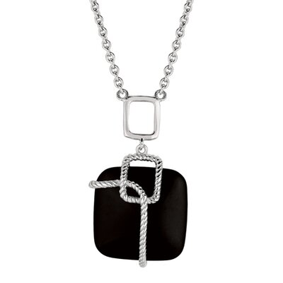 Sterling Silver and Gems Rhodium Plated Necklace With Square Onyx + Togg - 18 Inch ...