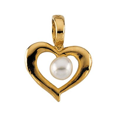 14k Gold Child Heart Pearl Pendant15 In Chain 7x8.25mm