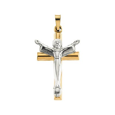 14k Two-Tone Risen Christ Crucifix Pendant