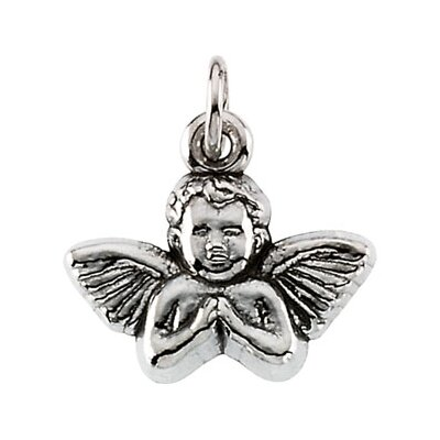 Jewelryweb 14k White Gold Baby Angel Pendant