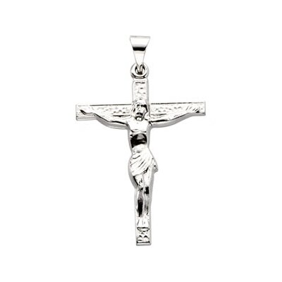 Jewelryweb 18k Yellow Gold Cross PendantWith Crucifix 24.6x19.3