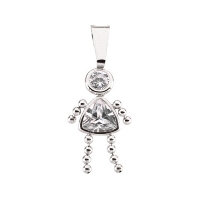 14k White Gold Girl PendantCZ Trillion Imitation April