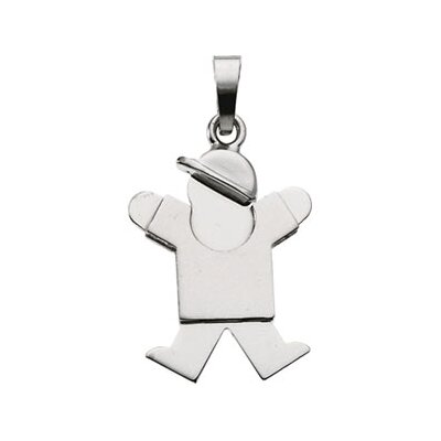 Jewelryweb 14k White Gold Kids Joy Boy Pendant20.5x14mm