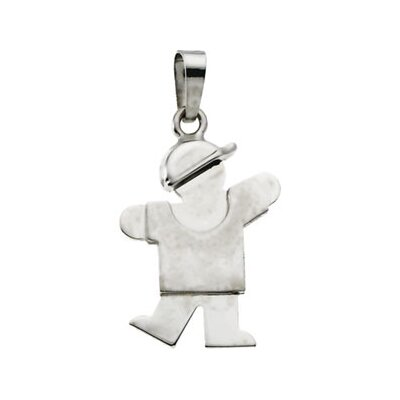 Jewelryweb 14k White Gold Kids Kiss Boy Pendant20.5x13.5mm