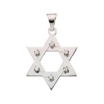 14k White Gold Star Of David PendantWith Diamond 25x19mm