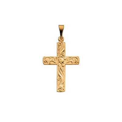 Jewelryweb 14k Yellow Gold Cross Pendant20.5x15mm