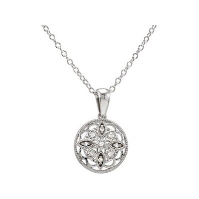 Jewelryweb Sterling Silver Diamond Necklace 18 Inch.05ct