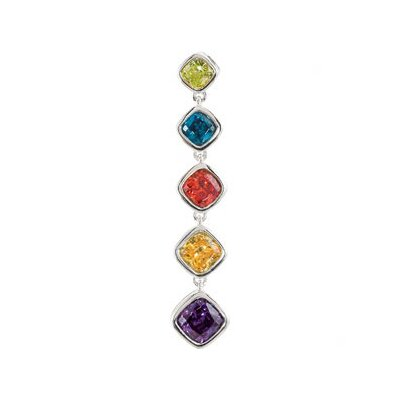 Jewelryweb Sterling Silver Multi-color CZ Pendant