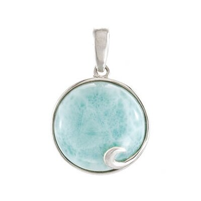 Jewelryweb Sterling Silver Genuine Larimar Pendant14mm