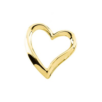Jewelryweb 14k Yellow Gold Heart Chain Slide 16x15mm