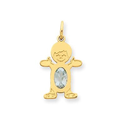 14K Boy Oval Genuine Aquamrine March Birthstone Pendant