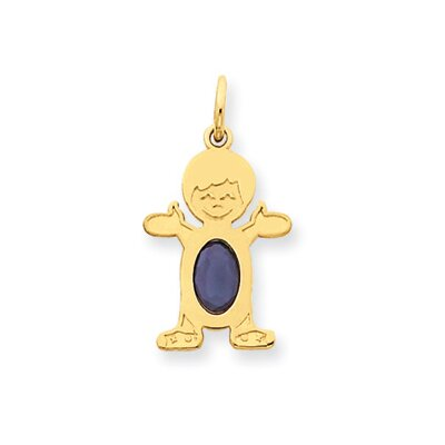 14K Boy Oval Genuine Sapphire September Pendant