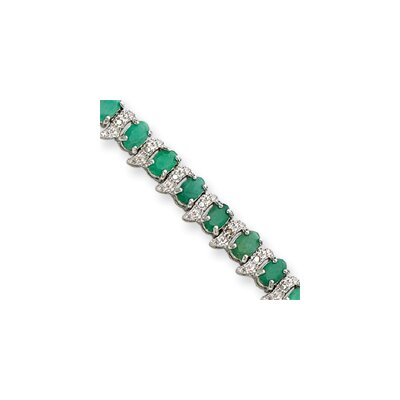 Jewelryweb 13.0 cttw Sterling Silver Genuine Emerald and Diamond Bracelet - Box Clasp