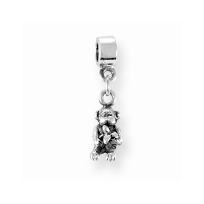 Jewelryweb Sterling Silver Reflections Kids Monkey Dangle Bead Charm