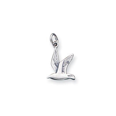 Jewelryweb Sterling Silver Antiqued Seagull Charm