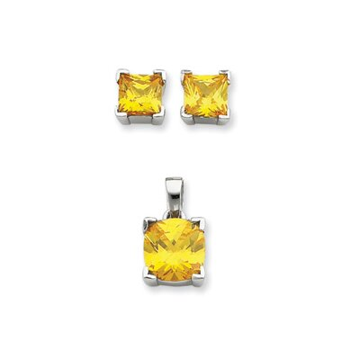 Jewelryweb Sterling Silver Yellow CZ Pendant and Earring Set