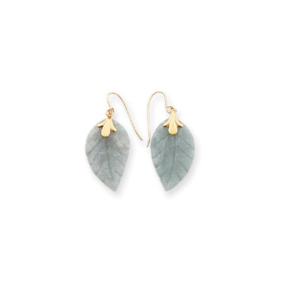 14k Jade Leaf Wire Earrings