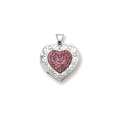 Sterling Silver Pave Pink Crystal 21mm Heart Locket