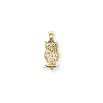 14k With Rhodium Owl Pendant