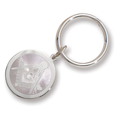 Jewelryweb Silver-plated and Rhodium Round Masonic Key Ring