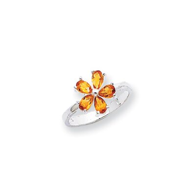 Jewelryweb Sterling Silver Pear Cut Citrine Ring