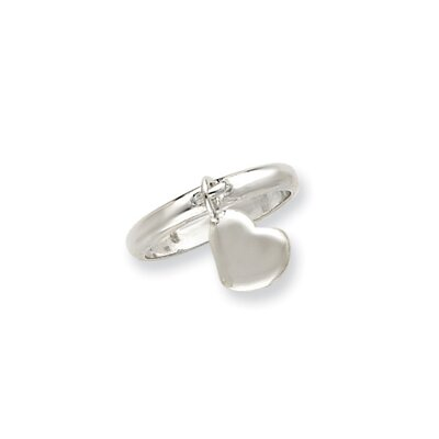 Sterling Silver Dangle Heart Ring