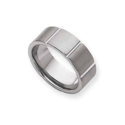 Tungsten Grooved 8mm Brushed and Polished Band Ring