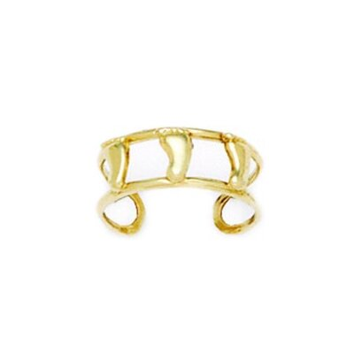 14k Yellow Gold Double Row With Feet Adjustable Toe Ring