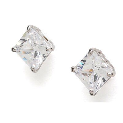 Jewelryweb 14k White Gold 5mm Square CZ Screwback Earrings
