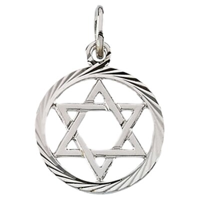 14k White Gold Star Of David Pendant13.25