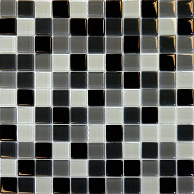 "MS International 12"" x 12"" Crystallized Glass Mosaic in Black Blend"
