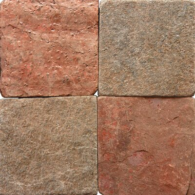 "MS International 6"" x 6"" Tumbled Quartzite Tile in Copper"