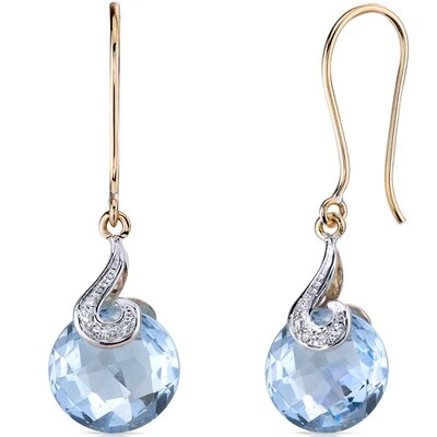10 Karat Two Tone Gold 9.00 carat Checkerboard Cut Blue Topaz Diamond Earrings (0.04 carat ...