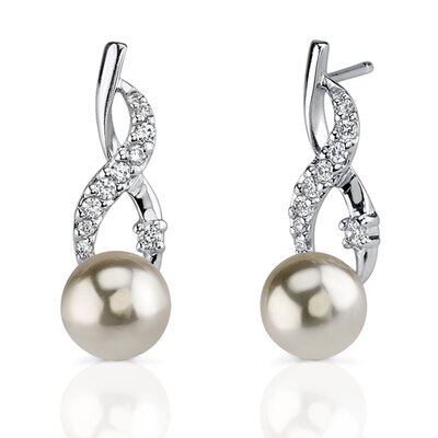 Classic Elegance: Sterling Silver Designer Inspired Wrap-over Style 8mm Faux Pearl Drop Earrings