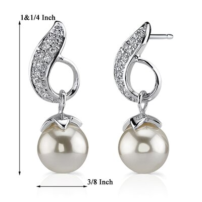 Oravo Luminous Elegance: Sterling Silver Bridal Style Post Earrings with Faux Pearls and Cubic Zirconia