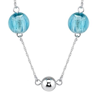 Oravo Serene Blue: Sterling Silver Murano Glass Station Style fully-drilled Bead Necklace with Silver Beads
