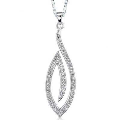 Chic Glamour: Sterling Silver Open work Oval Modern Pendant Necklace with Cubic Zirconia