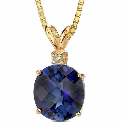 14 Karat Yellow Gold 6.50 Carats Oval Checkerboard Cut Sapphire Diamond Pendant