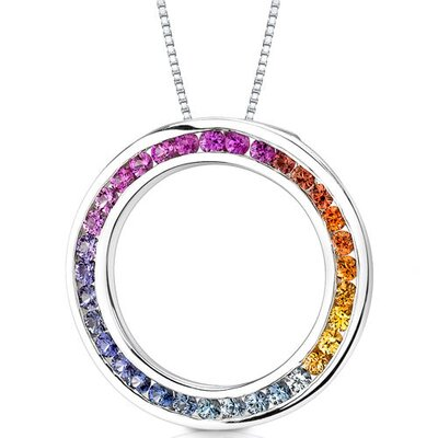 14 Karat White Gold 1.25 Carats Top Gem Quality Rainbow Sapphire Circle of Life Pendant ...