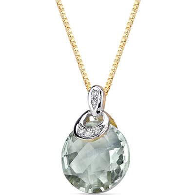 "Oravo 0.5"" 10 Karat Two Tone Gold 3.75 Carats Checkerboard Cut Green Amethyst Diamond Pendant"