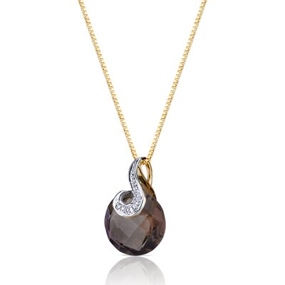 Oravo 5 Piece 10 Karat Two Tone Gold 3.50 Carats Checkerboard Cut Smoky Quartz Diamond Pendant