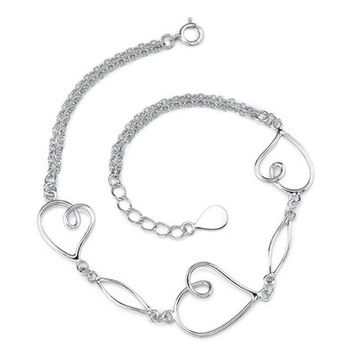 Romantic Elegance Sterling Silver Designer Inspired Double-Rolo-Chain Bracelet with Heart Charms