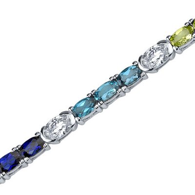 Magical Delight Oval Shaped Cubic Zirconia Gemstone Bracelet in Sterling Silver