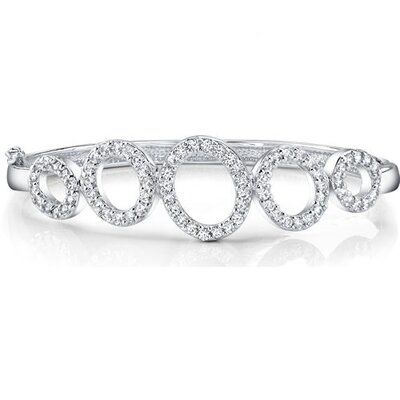 Opulent and graceful Sterling Silver Prong-Set Cubic Zirconia Hinged Bangle Circle Bracelet