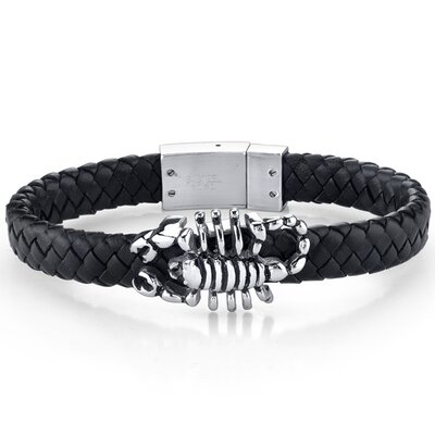 Mens Contemporary Black Woven Leather Bracelet with Scorpion Motif