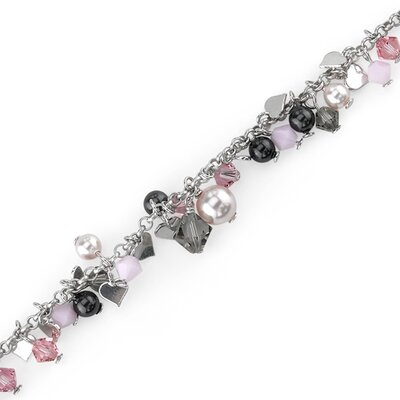 Vision of Love Sterling Silver Bracelet with Swarovski Crystals and Pearls Heart Charms