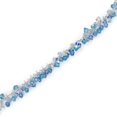 Ice Queen Ice Blue Sterling Silver Charm Bracelet with Swarovski Crystal Beads