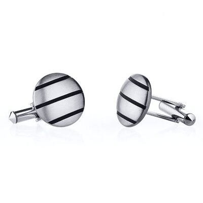 Triple Stripe Brushed Finish Titanium Cufflinks