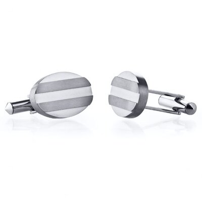 Grooved Brushed Finish Oval Titanium Cufflinks