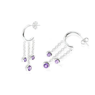 Oravo Round Cut Gemstone J-hoop Dangling Earrings Sterling Silver